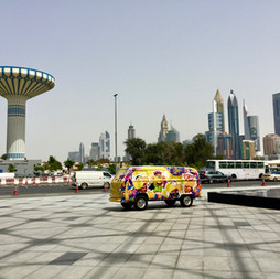 Al Khazzan water tower and park against the backdrop of the Dubai skyline in 2018