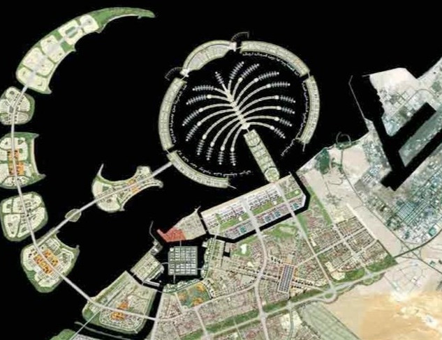 Dubai Waterfront master plan with the existing Jebel Ali port on the right hand side
