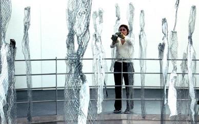 Shaqayeq Arabi installing her work