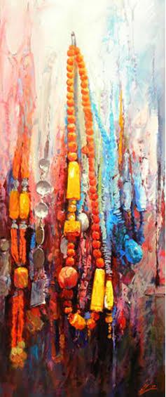Mohseni Kermanshahi Colorful stones Acrylic & oil on canvas 50 x 120 cm 2010