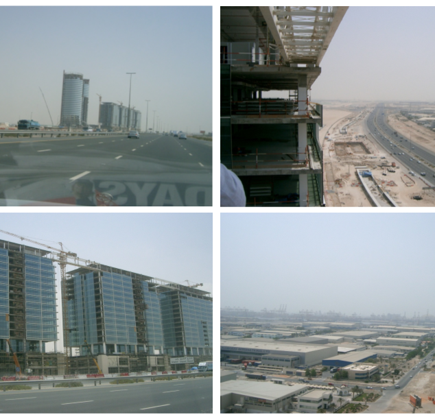 Progress images of the construction of Downtown Jebel Ali
