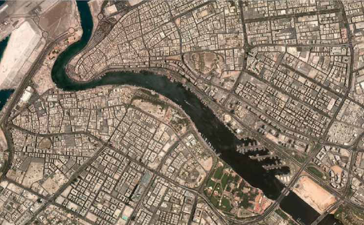 aerial photo of Dubai Creek