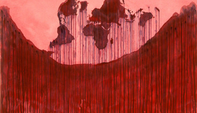 Todd Devriese Red map Collage & ink on paper 76 x 56 cm