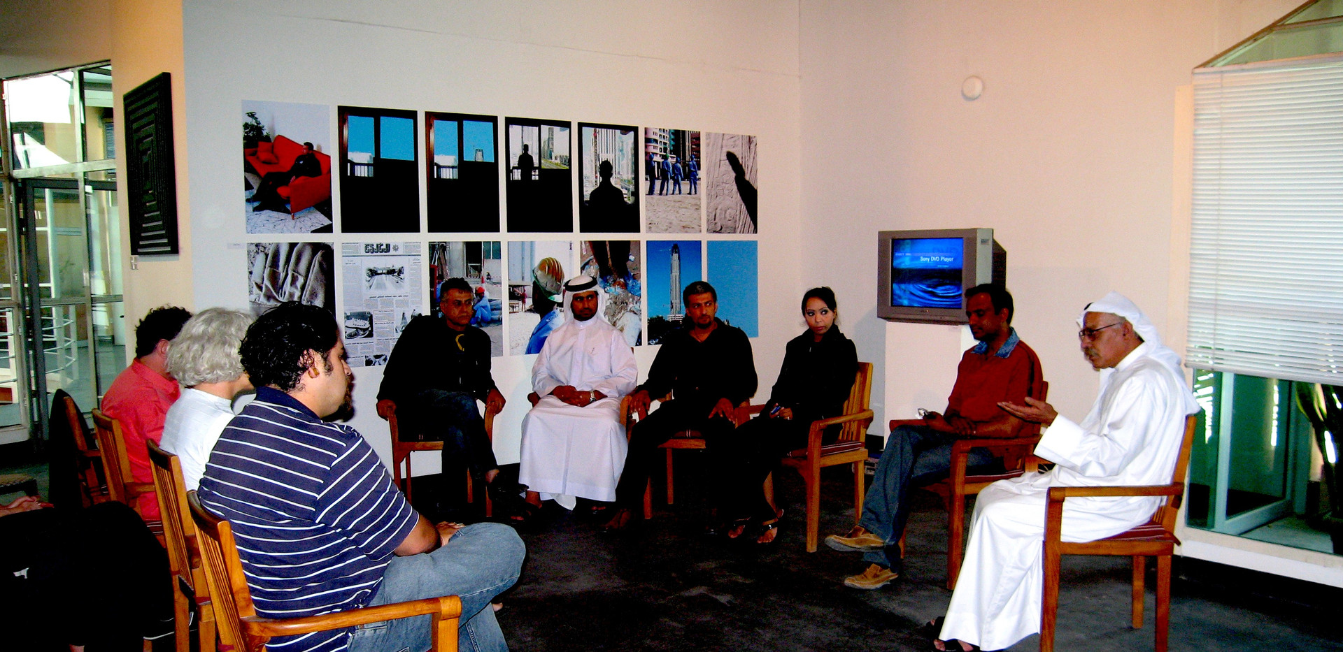 Panel discussion with late artist Hassan Sharif, and Ebtisam Abdulaziz, Khalil Abdulwahed and Mohammed Kazem