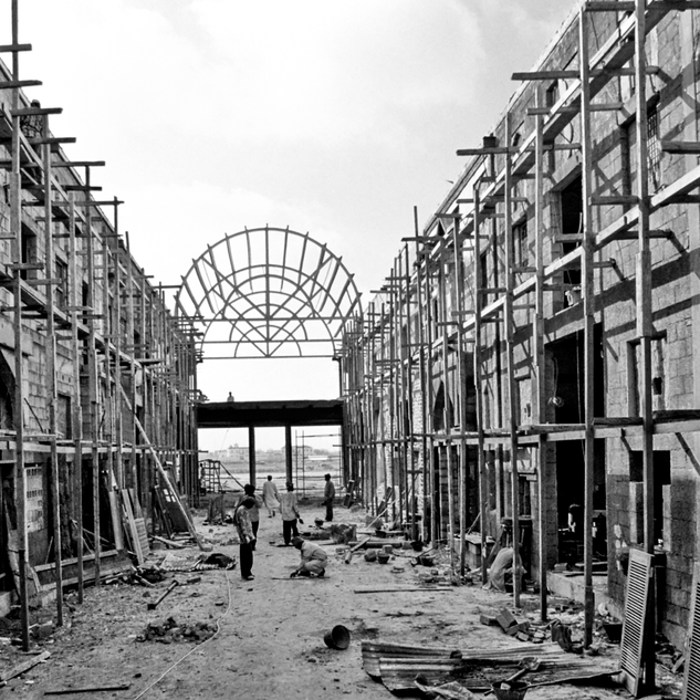 Courtyard under construction