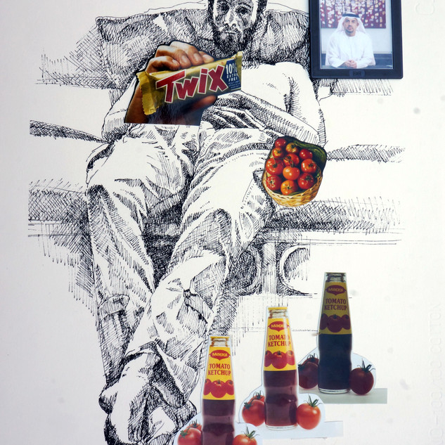 Artwork by Bijan Saffari incorporating the commercial photos of Dariush Zandi. Exhibited in Dastan Gallery