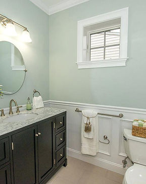 Bath Remodel Syosset Behr Paint: Healing Aloe Raised Panel Wainscot
