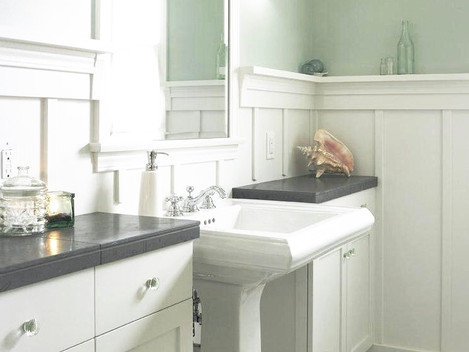 small bathroom remodel white wainscot co