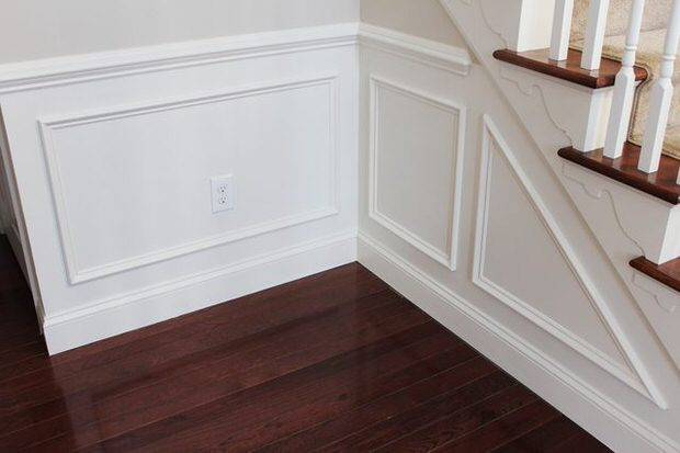modern white wall panel stairs