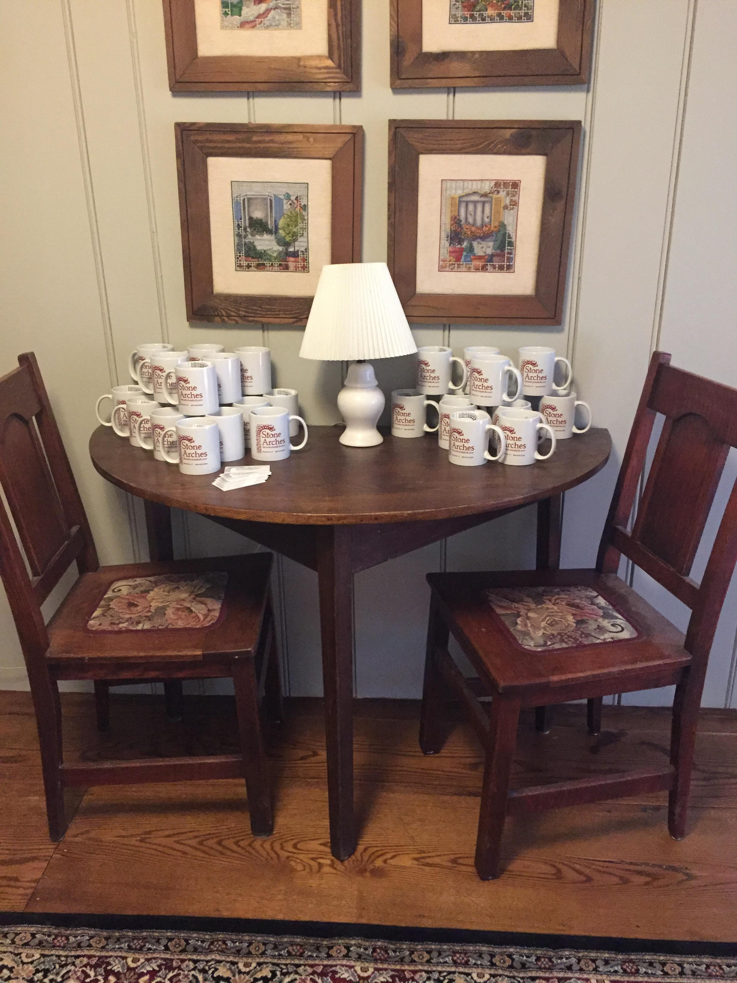 hall table with cups