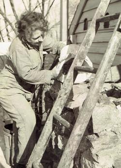 Louise Ferguson on the ladder