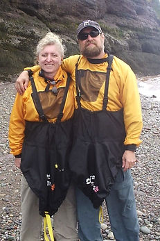 Bette and Paul getting ready to go kayaking on the Bay of Fundy