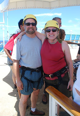 Bette and Pal gettng ready to climb the wall on a caribbean cruise