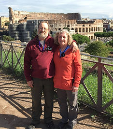 Bette and Paul in front of the Colossem in Rome