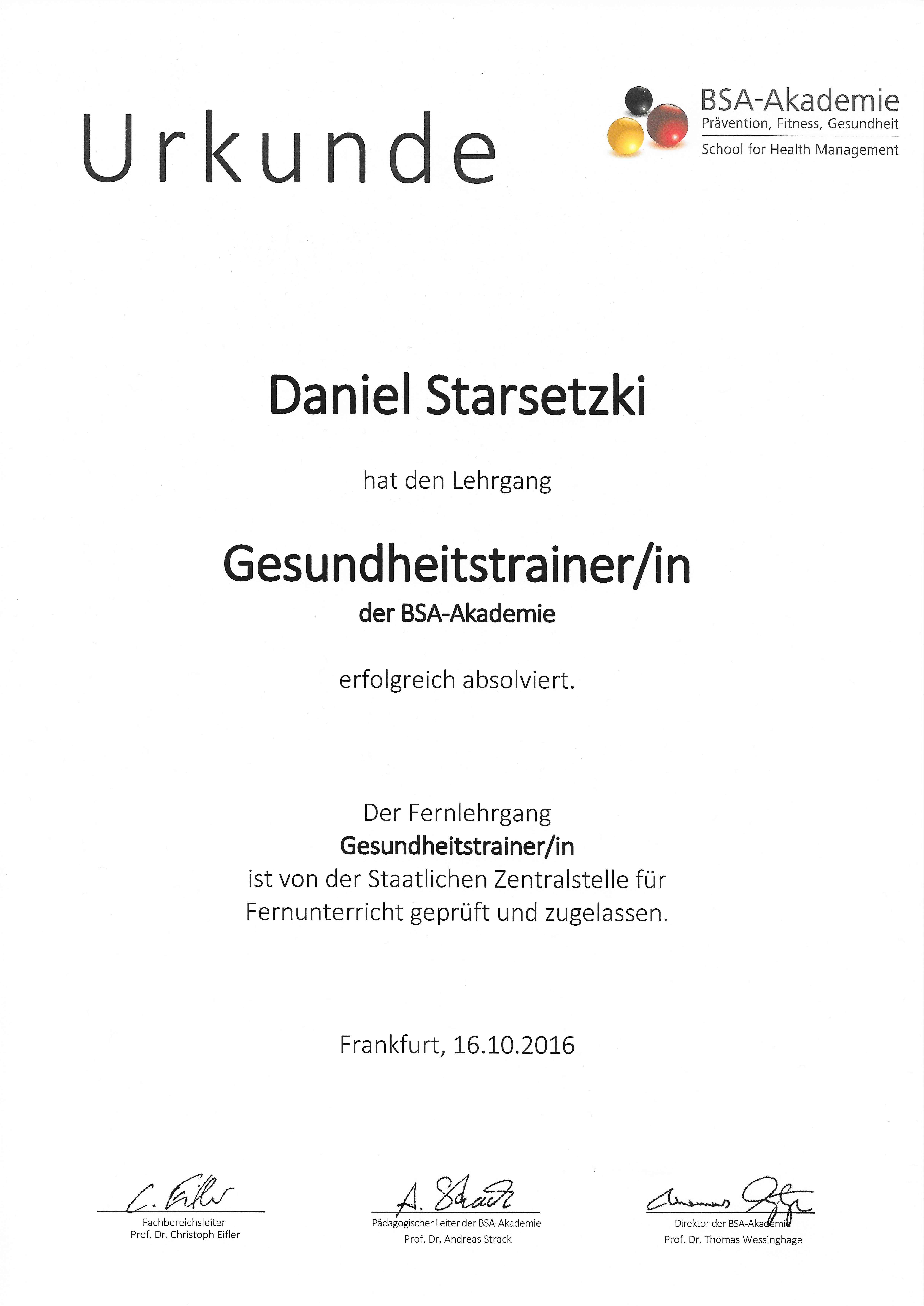 Gesundheitstrainer/in