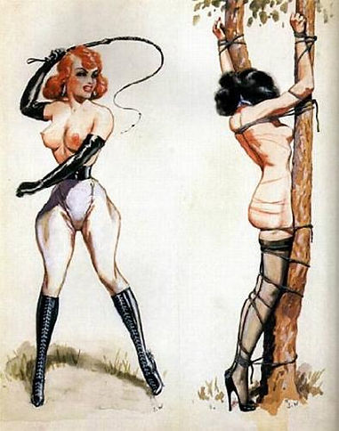 Ravenhaired_woman_tied_to_tree_and_whipp
