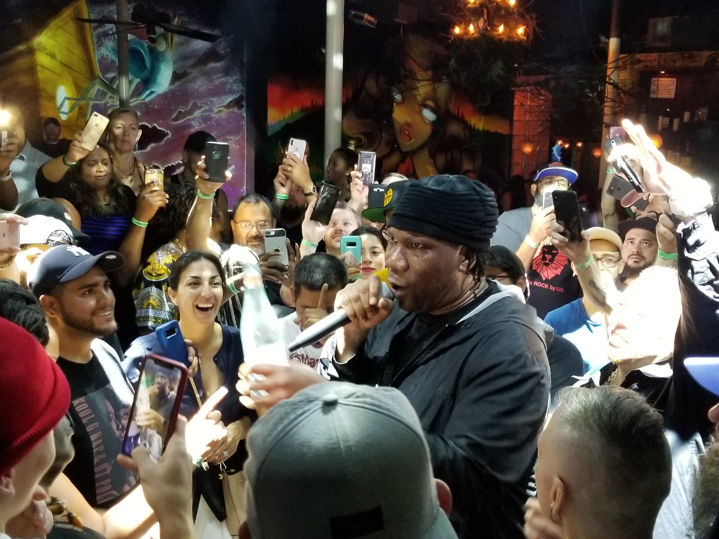KRS-1 preforming in the crowd