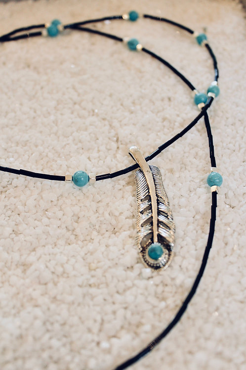 Feather & turquoise necklace
