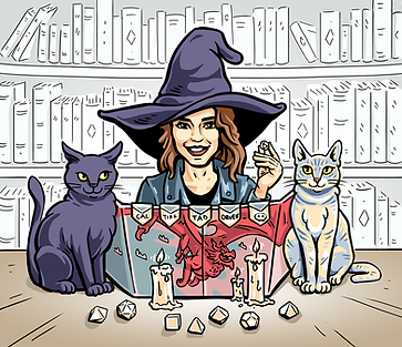 An illustratin of Kayla behind a D&D Dungeon Master's screen, wearing a witch hat. She's flanked by her two cats.