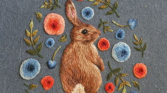 Embroidered Bunny Rabbit Design - Chloe Girodano