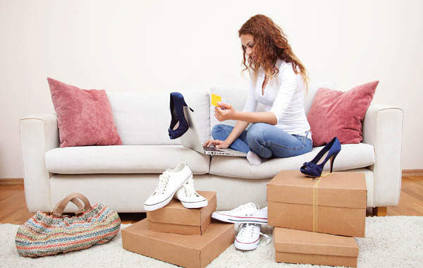 Woman Online Shopping From Home