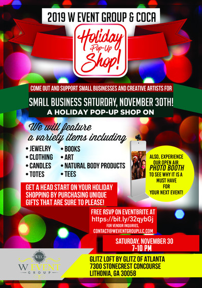 Small Business Saturday, November 30, 2019 | 7-10 PM | Lithonia, GA