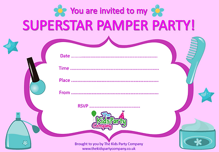 kids childrens girl pamper birthday party invitation