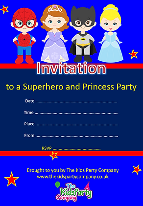 kids childrens superhero princess birthday party invitation