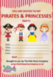 kids childrens pirate princess themed birthday party invitation
