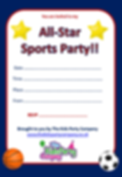 kids childrens all star sports boys girls birthday party invitation