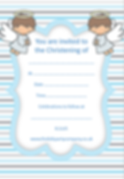 kids childrens boys christening party invitation