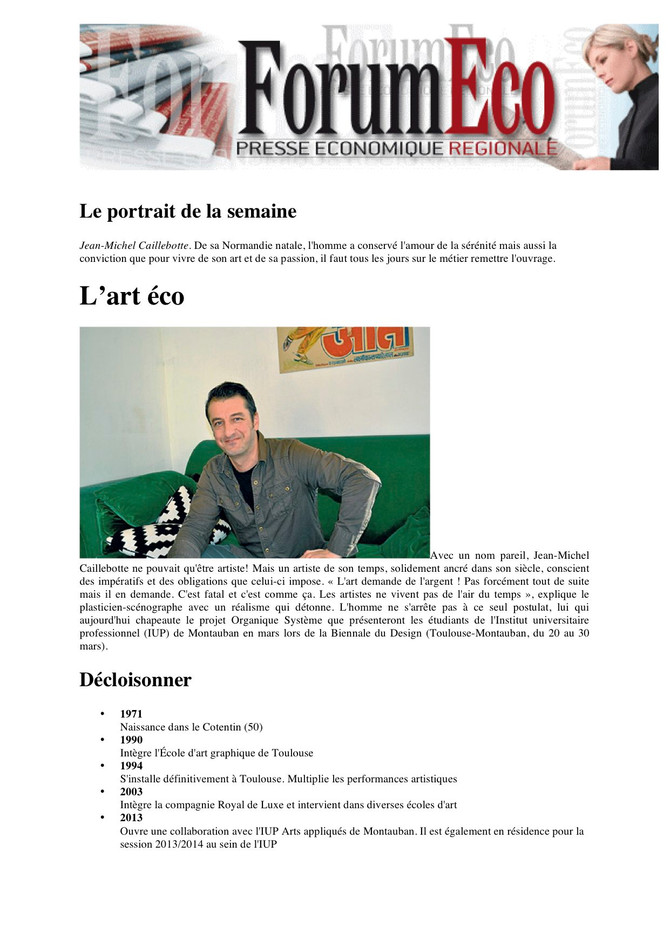 Article dans Forum Eco