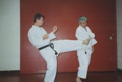 Shiomitsu Sensei demonstrating defence