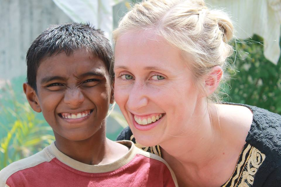 Emily and a boy from Yuva Jyothi