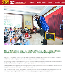 Singapore Kids Magician | Magic Of Markson Kids Party