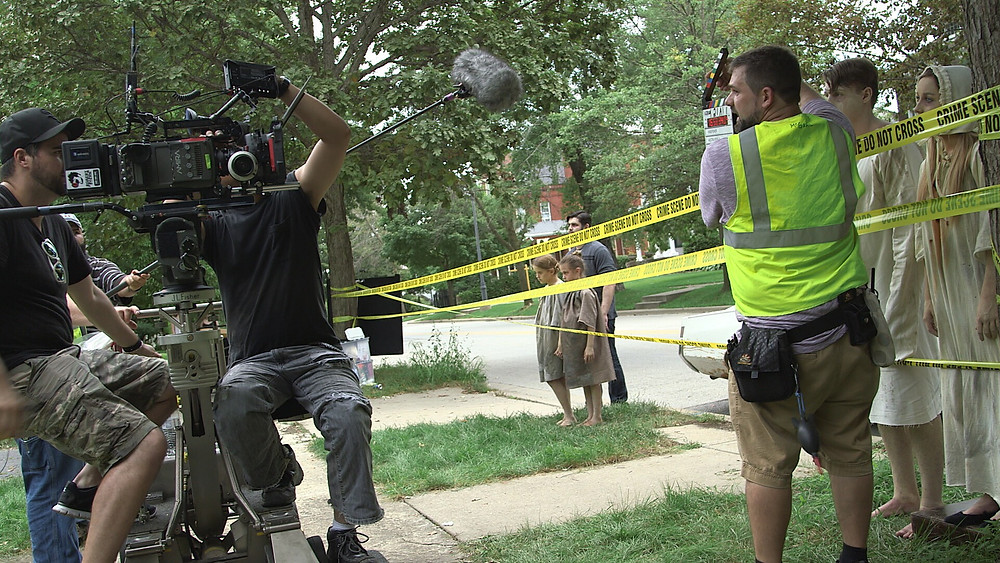 Cameras were rolling on set for the independent film Kingfisher as Robert Patrick Stern (from left), Francis Claudio, Thomas Zydek, Alyssa Hays, Evahleigh Hays, Benji Morgan, Nick Donley and Lauryn Johnson worked their way through a scene. (Handout)