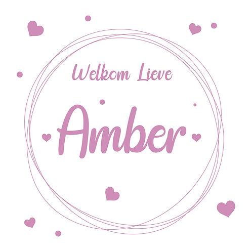 Geboorte raamsticker Amber