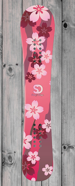 Red Floral Snowboard wrap