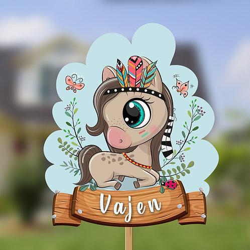 Paardje indiaan Geboorte bord