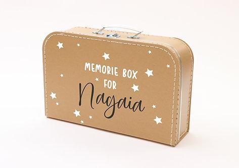 Koffertje met Memorybox en sterren wit