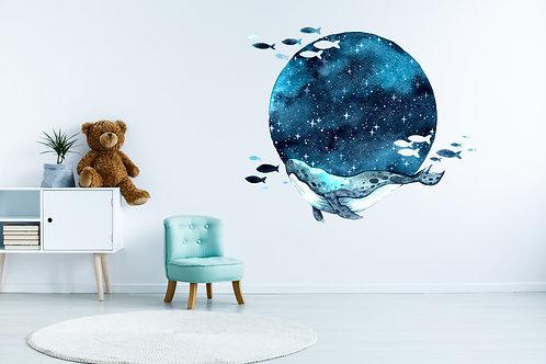 Moon whale Muursticker
