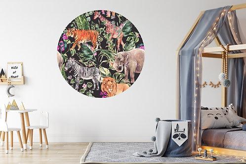 Jungledieren donker Muurcirkel