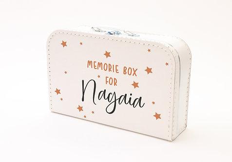Koffertje met Memorybox en sterren oranje