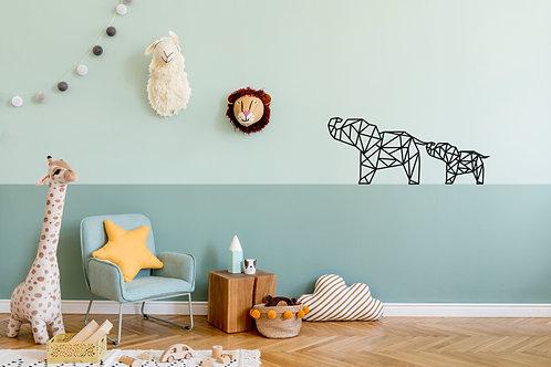 Geometrische Olifantjes muursticker