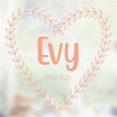 Geboorte raamsticker Evy