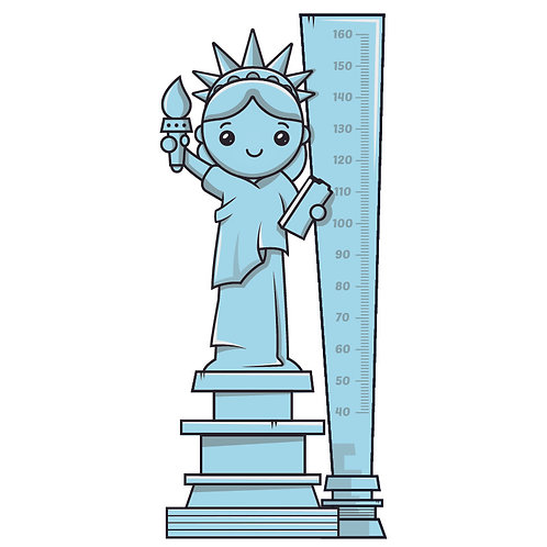 Sticker groeimeter Vrijheidsbeeld