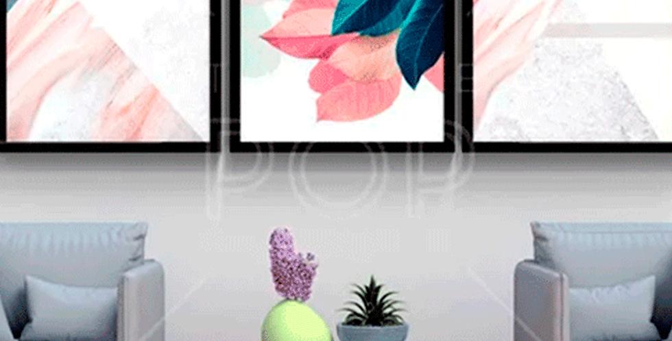 Conjunto 3 Quadros Flor Abstrato Quarto Sala Escritório Hall
