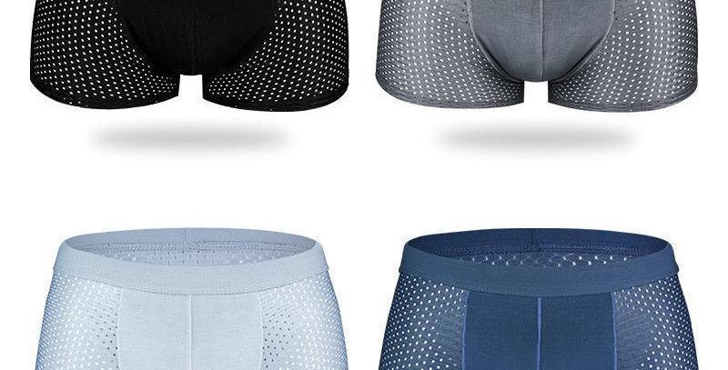 Cueca boxer de malha de seda gelada respirável