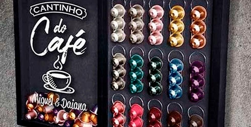 Quadro Porta Cápsulas Nespresso - CANTINHO DO CAFÉ - Quadro Novo Preta