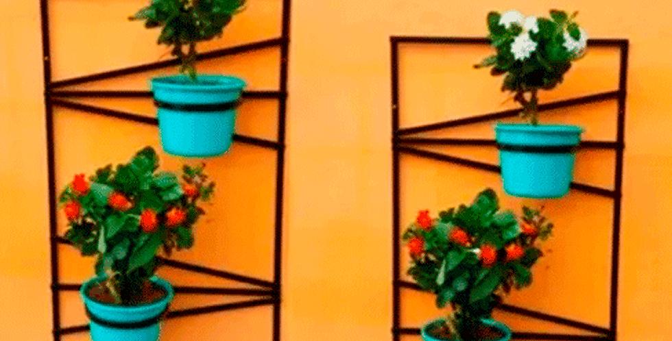 Kit Dois Painel Suporte Para Vasos De Plantas